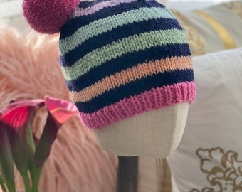 Fall & Halloween Sales Striped Beanie Hat, Striped Hats with Pom poms