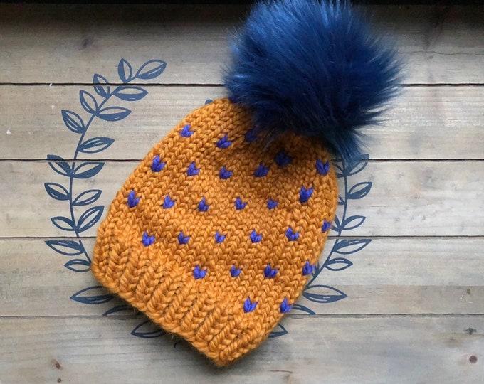 Slouchy Beanie Hat, Chunky Fair Isle hat, Womens Hat