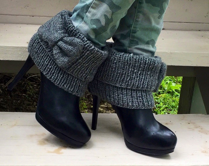 Boot cuffs, knit boot toppers with a bow