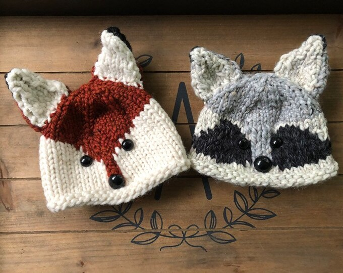 Animal Baby hats, Racoon baby hat, Fox baby hat, Rabbit baby hat