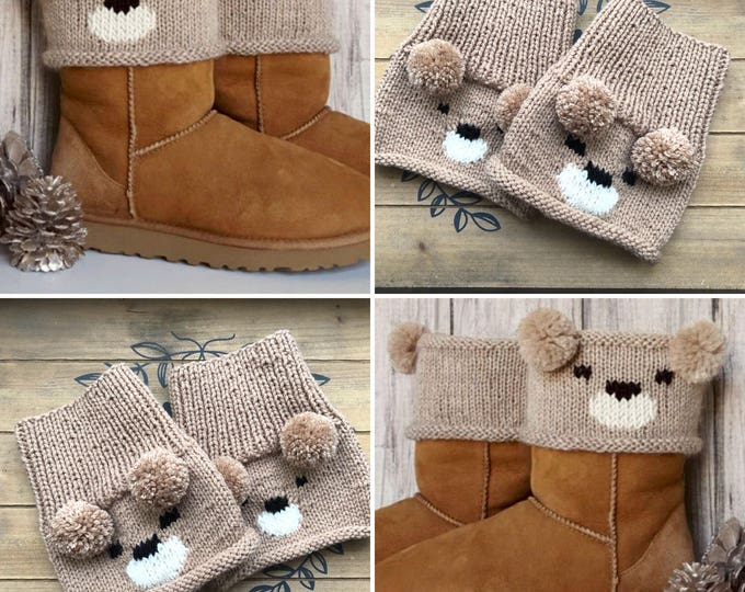 Boot toppers, Knit bear boot toppers