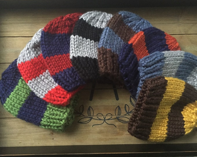 Chunky knit Hat, Striped hat for boys, Knit striped hat