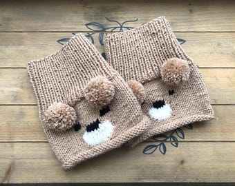 Boot toppers, bear boot toppers, ankle bear knit boot cuff, ankle boot cuffs, animal boot warmers, knit woman and girl boot cuff
