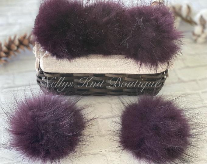 EGGPLANT PURPLE- Fur Pom Poms