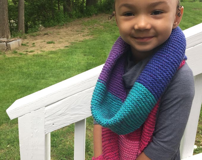 Color Block Scarf with pockets, Striped Girl Neck Warmer