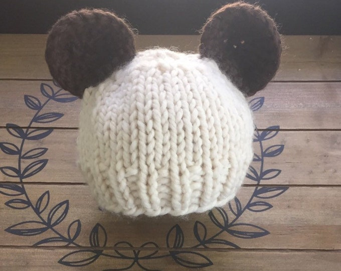 Knitted Baby Bear Hat, Chunky knit hat