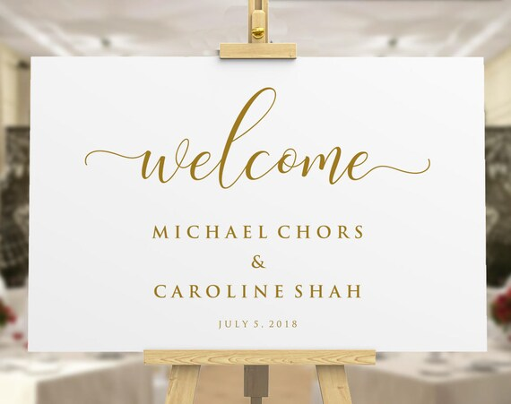 Gold Welcome To Our Wedding Sign Template Printable Welcome Etsy