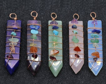 Crystal Point Opalite Point Pendant White Howlite,Amethyst Pointed,Rose Crystal,Blue Lapis Lazuli,Red Agate Pendant Quartz Charm 1559