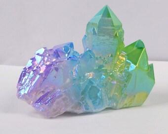 rainbow aura quartz etsy