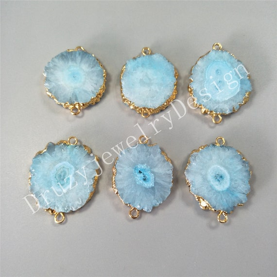 Double bail Jewelry Making supplies Gemstone Connectors Stalactite Slice Gold edge solar DIY Jewelry supplies Solar quartz connector