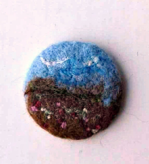 Needle Felted Brooch round felt nature spring landscape picture pin brooch wool coat scarf rustic broach spring fashion felt jewelry