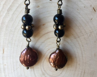 Onyx and coin pearls w/ antiqued brass