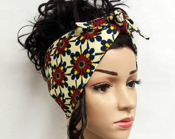 African Print Custom Made Hair Tie Headband Workout Headband Knot Headband  (A) 7959566f328