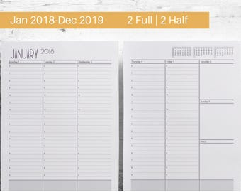 2018 2019 Hourly M-F Weekly Planner Printable, Agenda Large, Schedule A5, Filofax Pages, Franklin Refills, Notebook Small, Color Crush Pages