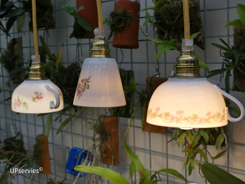 Think Pink with our coffee cup /  teacup pendant lightings image 0