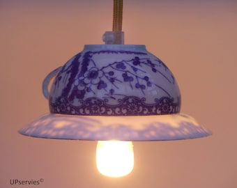 Flipped vintage Japanese teacup and saucer pendant light with blue flowers