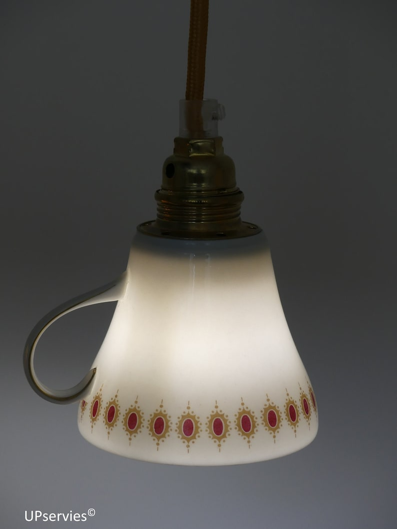LED upcycled teacup lamp with red darkgoldenrod royal locket image 0