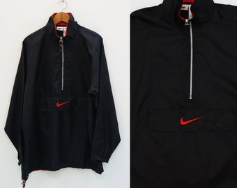 62f3bb3311b5a NIKE Windbreaker Nylon Black With Embroidery Logo Size L Vintage 90 s Nike  Track   Field Training Pullover Jogger Windbreaker Jacket