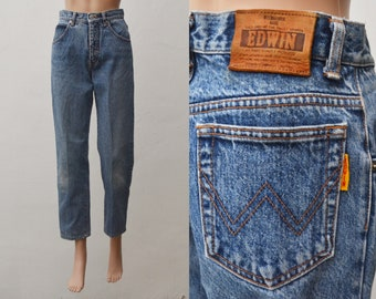 43aef472 EDWIN Jean Blue Stone Wash Tapered Leg Size 29 Vintage 90's EDWIN Only  Genuine High Waist Mom Jeans