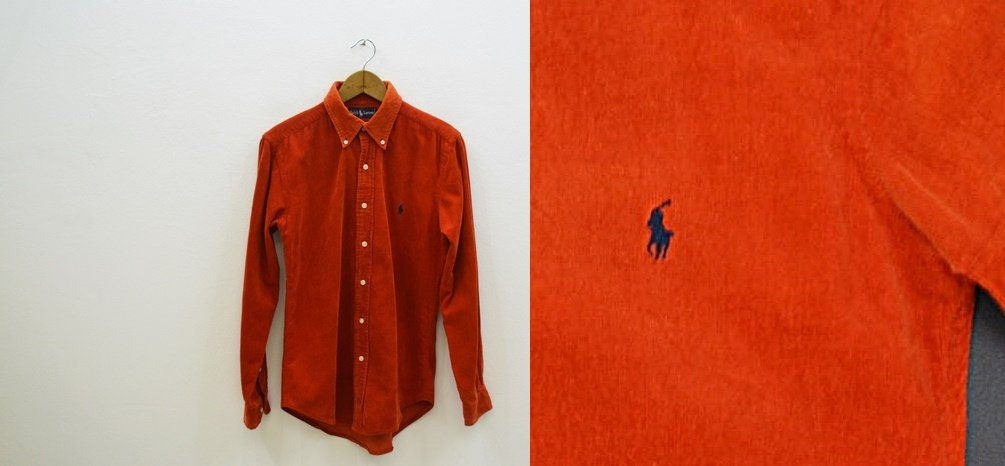 Ralph Lauren chemise femme velours côtelé gingembre taille taille gingembre  M Vintage Polo par Ralph Lauren 74a8bffea372