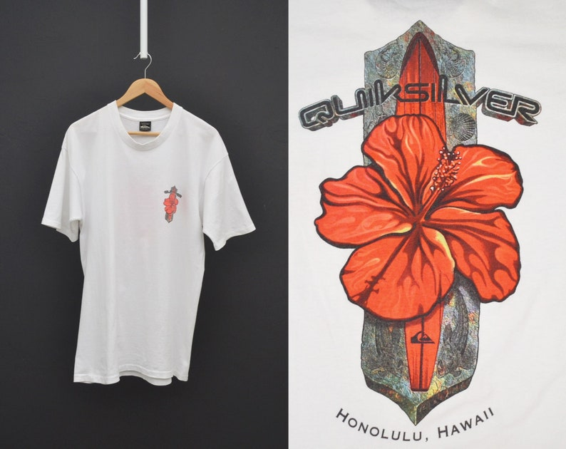 2bd6599c Quiksilver T Shirt White Hawaiian Hibiscus Printed Tee Size | Etsy