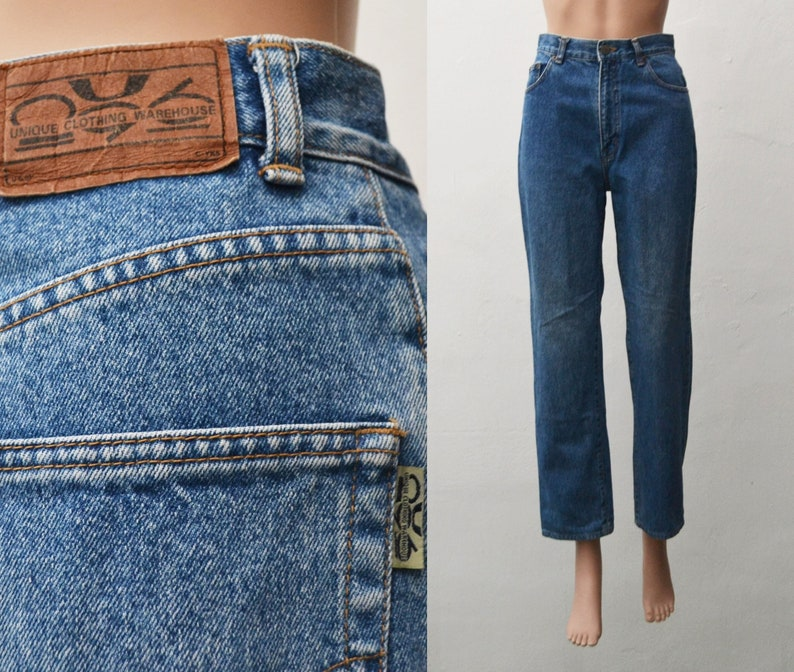 90/'s UNIQLO Jean Blue Tapered Leg Size 70 Vintage Unique Clothing Warehouse Girlfriend High Waist Mom Jean
