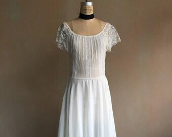 983a481223 Vintage 70s Sheer Lace   Linen Cotton Gauze Dress
