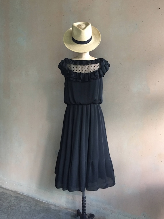 Vintage Handmade Silky Sheer Lace & Ruffles Black