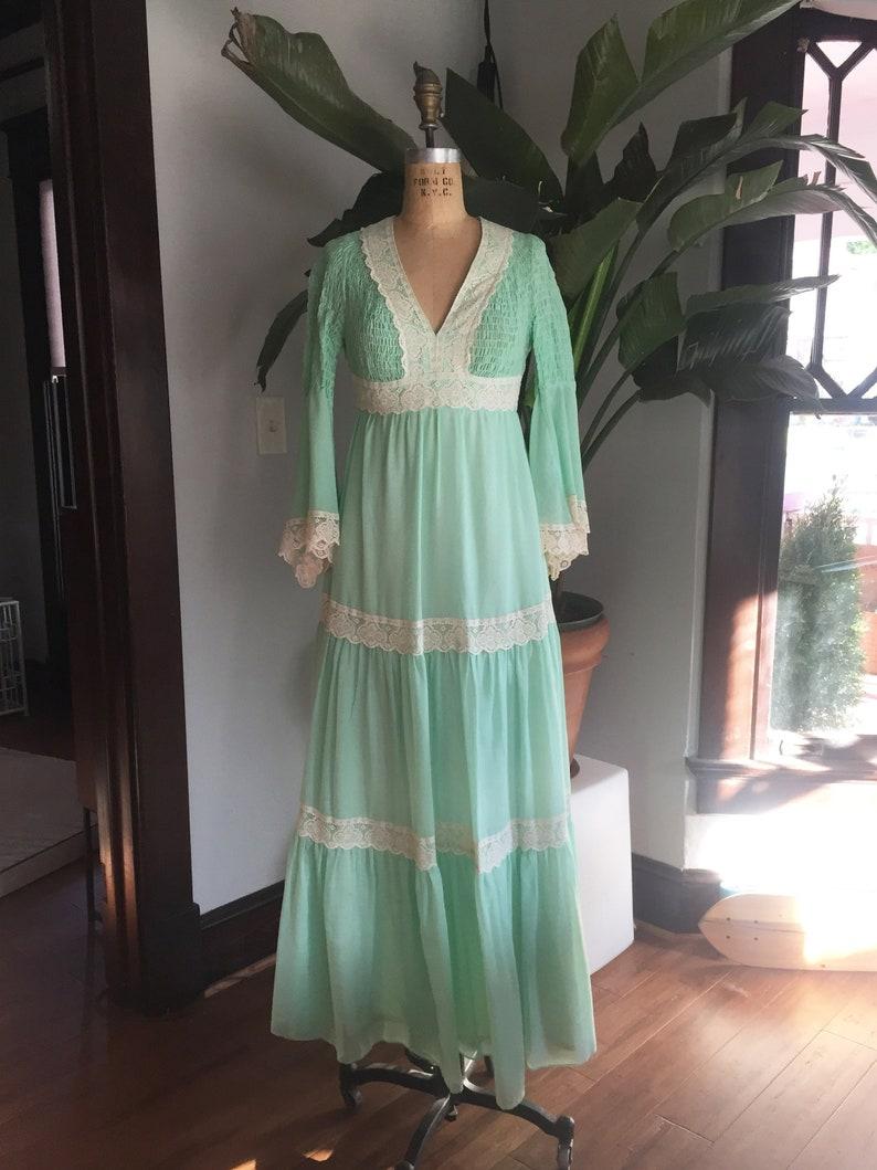 0597b9f3f3 Vintage 70s Pastel Mint Green Cotton   Lace Boho Dress w