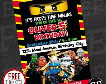 Lego Ninjago Invite Etsy