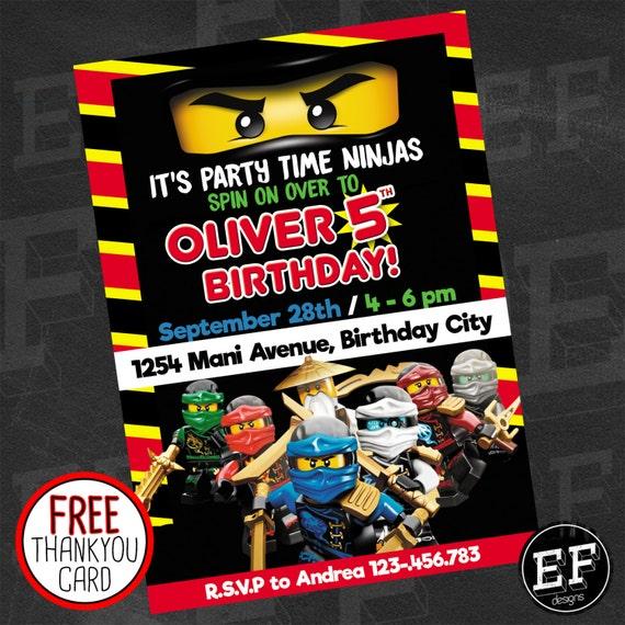 Lego Ninjago Birthday Party Invitation Digital Printable DIY