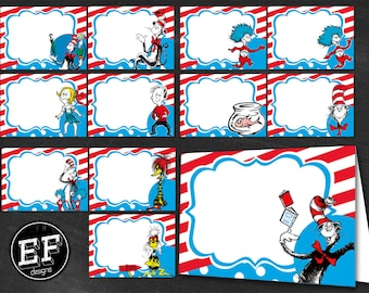 24 Dr Seuss Food Tent Cards, INSTANT DOWNLOAD-Dr. Seuss food Labels, Food Labels, Buffet Labels, Tent Cards, Place Cards, Cat in the Hat