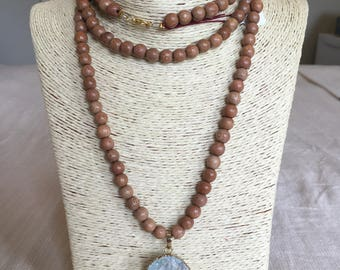 wooden necklace w/ blue druzy & gold accents