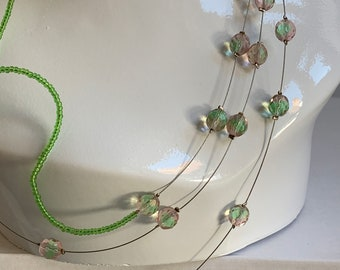 Easy to wear any occasion Fun beaded element with stainless steel claps and chains jewellery set Adjustable size necklace and bracelet.
