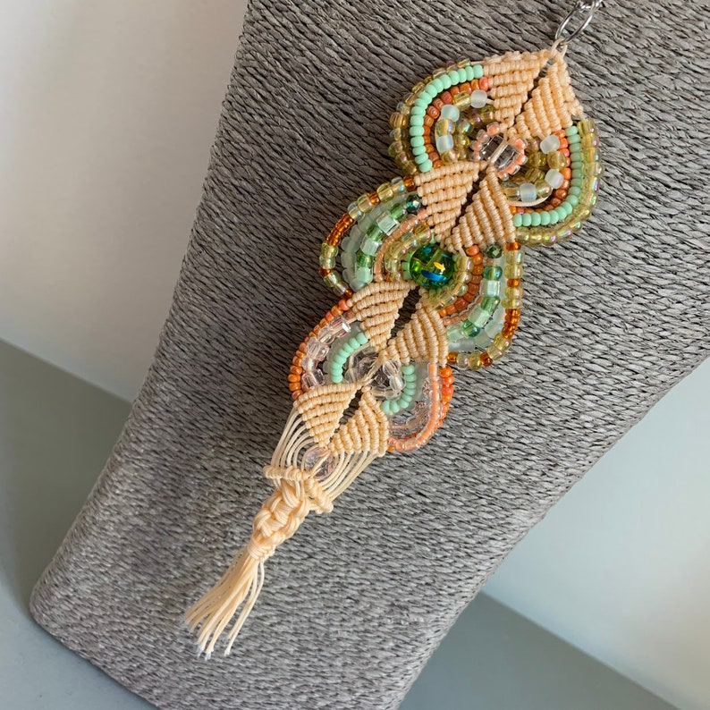 macrame set: necklace earrings standout Impressive and unique One of a kind! Unique Art jewelry