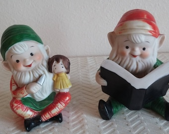 Pair of Vintage Homco Christmas Elves, Homco Elves Number 5205, Vintage Porcelain Christmas Figurines, Vintage Christmas Décor