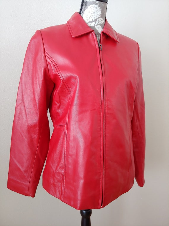 Vintage Red Leather Jacket, Woman's Red Leather Ja