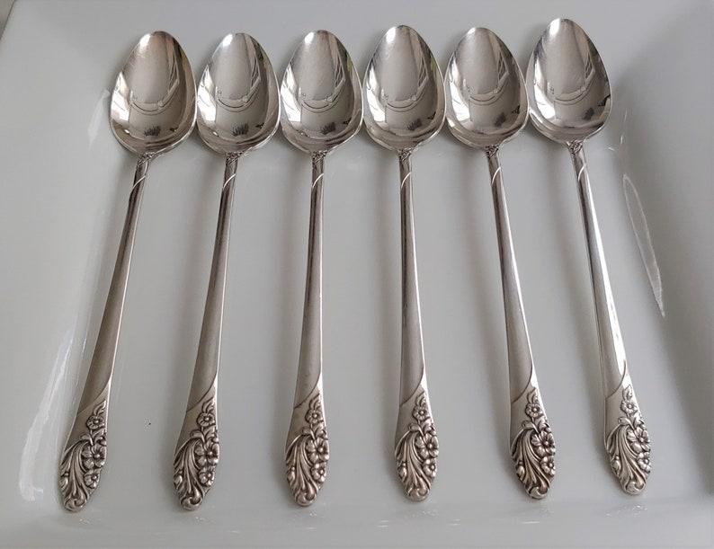 Ensemble de 6 vintage Community Evening Star Pattern Iced Tea ou Parfait Silver Plate Spoons, Silverware vintage, Vintage Parfait Spoons