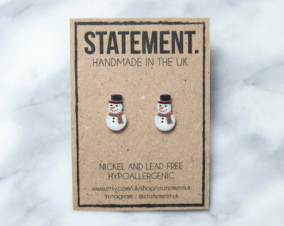 Christmas Snowman with Hat and Scarf Stud Earrings - 1 pair