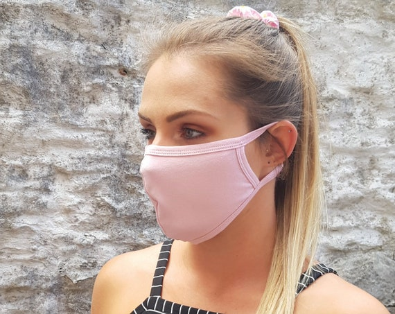 STATEMENT. Light Pink Unisex / Reusable Cotton Face Mask / Covering - 2PLY with Filter Pocket