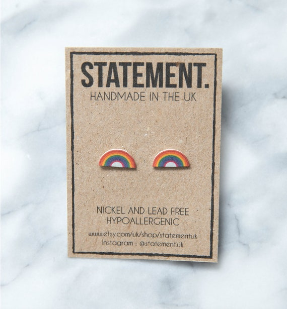 Happy Positive Rainbow Weather Stud Earrings - 1 pair