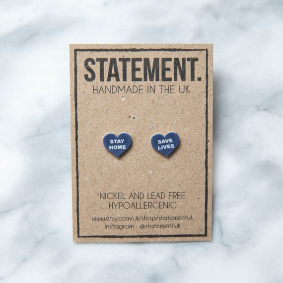 Stay Home, Save Lives Heart Shaped Stud Earrings - 1 pair