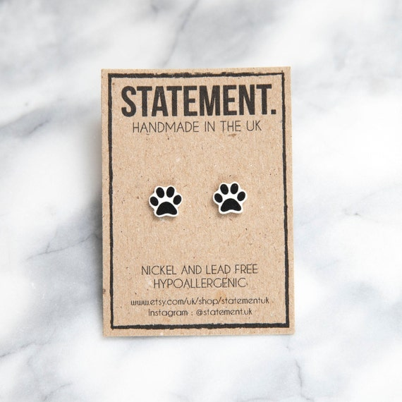 Black and White Animal Paw Print / Symbol Stud Earrings - 1 pair