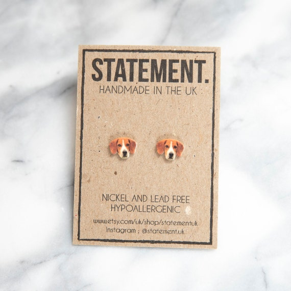 Brown and White Beagle / Dog Face / Head Stud Earrings - 1 pair