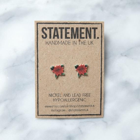Red Christmas Poinsettia Flower Stud Earrings - 1 pair