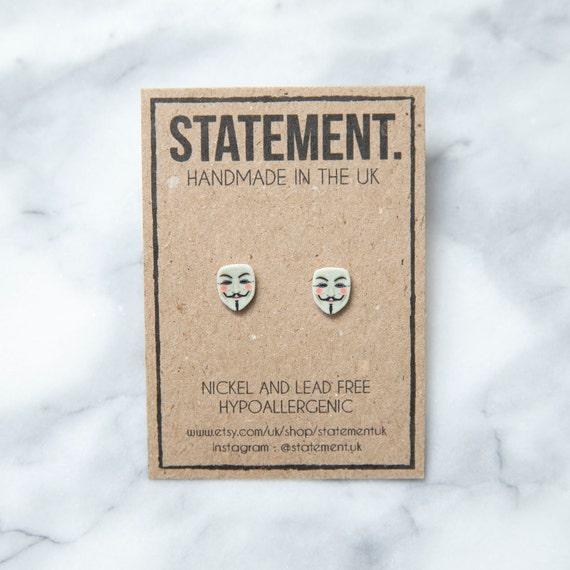 Guy Fawkes Head / Face / Symbol Bonfire Night 5th of November / V for Vendetta Mask Stud Earrings - 1 pair