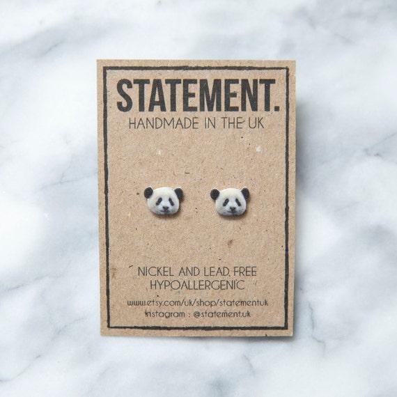 Black and White Fluffy Giant Panda Zoo Animal / Nature / Wildlife Stud Earrings - 1 pair