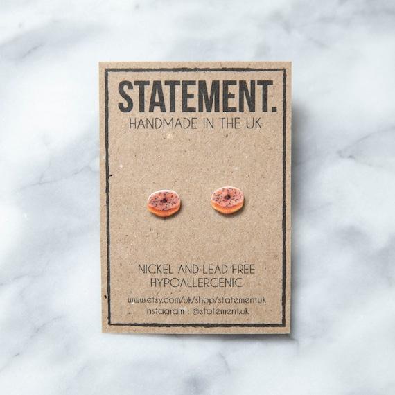Strawberry Pink Glazed Doughnut / Donut with Sprinkles Stud Earrings - 1 pair