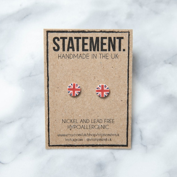 UK / Union Jack / United Kingdom Tricolour Flag Symbol Stud Earrings - 1 pair