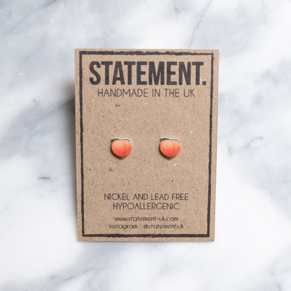 Peach Fruit Emoji Snapchat / Facebook / Instagram / Samsung / Apple Stud Earrings - 1 pair
